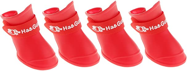 Phenovo 4x Anti-skid Pet Boots Elastic Non-slip Rain Shoes Watreproof Rubberized Dog Shoes Paw Protector Socks - red, S