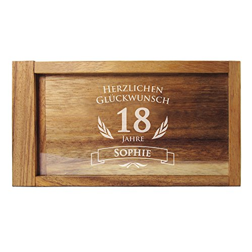 Casa Vivente - Magische Geldgeschenkbox mit Gravur - Personalisiert mit Namen und Jahreszahl - Knobel-Spiel - Geschenkverpackung - Geschenkidee für Frauen und Männer zum Geburtstag