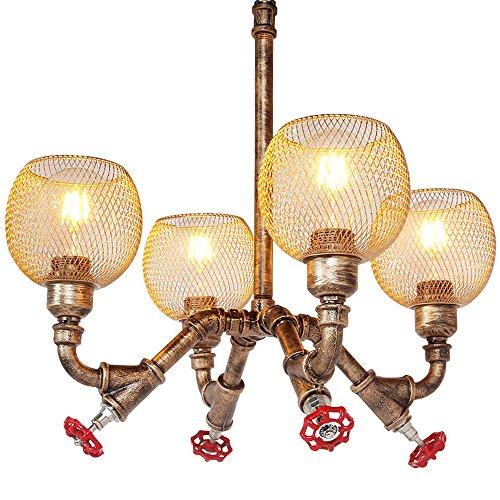 Pointhx Pendelleuchte Fixture Vintage Steampunk E27 4-Licht Wasserrohr Pendelleuchte Industrial Retro Metall Lampenschirm Deckenleuchte für Esszimmer/Wohnzimmer Restaurant Pub Cafe -