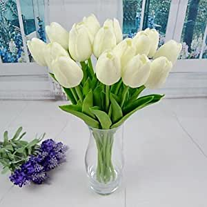 MOCHA mode nouvelle tulipe artificielle blanc rouge orange jaune 6 pièces / lot souches 13,38 pour le mariage et décoration fête