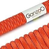 Paracord 550 Seil Rot | Signalorange | 31 Meter Nylon-Seil mit 7 Kern-Stränge | für Armband | Knüpfen von Hunde-Leine oder Hunde-Halsband zum selber machen | Seil mit 4mm Stärke | Mehrzweck-Seil | Survival-Seil | Parachute Cord belastbar bis 250kg (550lbs) - Marke Ganzoo