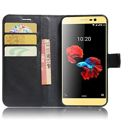 SMTR ZTE blade A910 Wallet Tasche Hülle - Ledertasche im Bookstyle in Schwarz - [Ultra Slim][Card Slot][Handyhülle] Flip Wallet Case Etui für ZTE blade A910