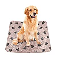 Smandy Dog Pee Pads, Waterproof Dog Urine Mat Bed Reusable Dog Training Mat Washable Feeding Mat Whelping Mat for Pet Dogs Cats(Brown 70×80cm)