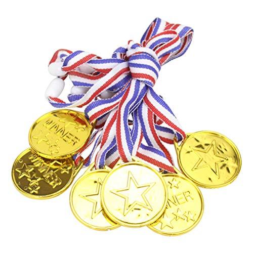 YeahiBaby Medaillen Gewinner Award Medaillen mit Halsband Gold Medaillen für Kinder Wettbewerb Fußball Party Gastgeschenk 12 Stück (Golden)