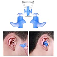 Upstore 1SET Professional Gel Swimming or Sleeping Ear Plugs and Nose Clip with Packing Case Soft Silicone Anti-Noise Waterproof Earplugs Swimmer Swimwear Swimmig Ear Nose Protector for Adults (Blue)