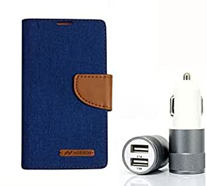 Aart Fancy Wallet Dairy Jeans Flip Case Cover for MotorolaMotoE (Blue) + Dual USB Port Car Charger with Smartest & Fastest Technology by Aart Store.