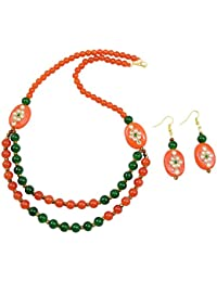 Fashionvalley Orange & Green Glass Beads Designer Necklace Set For Women & Girls