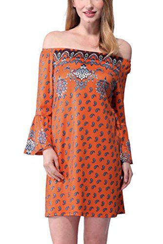 SMITHROAD Damen Minikleid mit Blumen und Paisley Muster Tunika 3/4 Arm mit Stretch Bunt Weiß Orange Grün Gr.34-44 Orange
