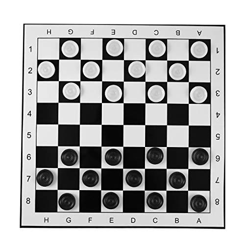 BIYI Tableros de plástico de gran tamaño/Borradores Tablero de ajedrez plegable Juego de ajedrez internacional Juego de mesa de viaje Juguete de competencia (Negro-blanco) ()
