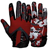 Best Football Gloves For Receivers - PROSTYLE Camo American Football Receiver gloves, red Review