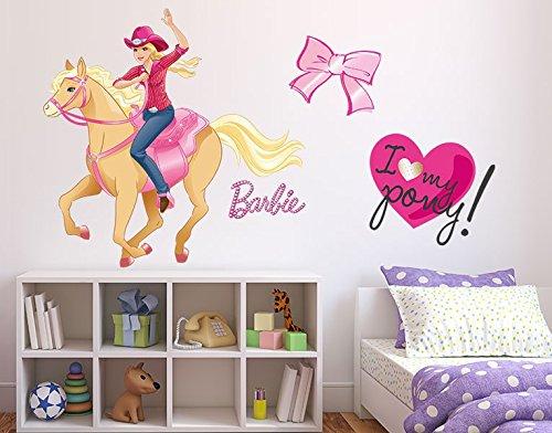 Klebefieber Wandtattoo Barbie I love my Pony B x H: 30cm x 27cm (Sattel Cowgirl)