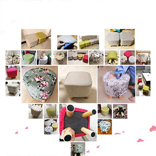 JZX Fußhocker, Bambus Hocker, Arbeitshocker, Duschhocker, kleines Massivholz Stoff Creative Home Sofa,Grau,Runden -