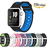 Chok Idea Band Compatible with Apple Watch Correa 42mm 44mm,Silicona Two-Tone Style Transpirable Sport Correa Replacement for iWatch Apple Watch Series 4 Series 3 2/1,Black-Blue