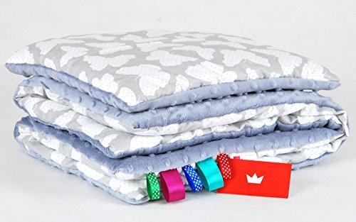 BABYLUX Babydecke MINKY PLÜSCH Kuscheldecke Decke 75 x 60 cm + KISSEN 2 Tlg Set (11. Grau - Schmetterlinge) -