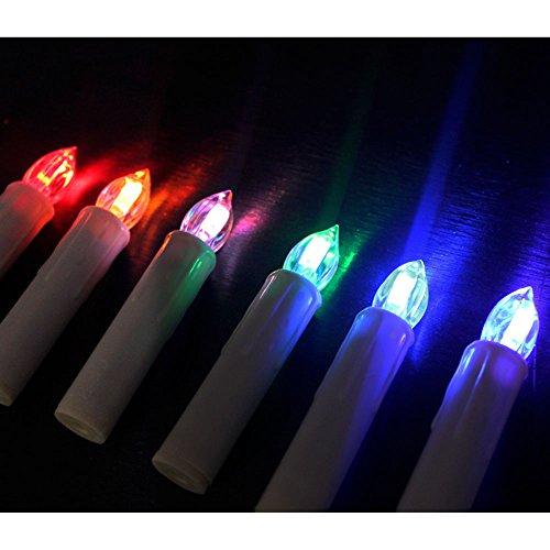 HJ® 100set Classic Mini LED Velas de Navidad RGB Fairy Lights Adornos de árbol de navidad con control remoto por infrarrojos, inalámbrico, clip verde, beige