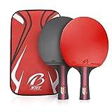 Weeygo Raquetas de Tenis de Mesa, Profesionales 2 Raquetas de Ping Pong Alta Velocidad Juego de Tenis de Mesa para el Juego de Interior al Aire Libre