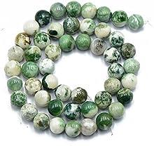 Naturaleza 8mm Oscura Piedra Preciosa Del arbol De agata Verde Perlas Ronda Sueltos 15  '
