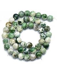 Naturaleza 8mm Oscura Piedra Preciosa Del arbol De agata Verde Perlas Ronda Sueltos 15 \ '\'
