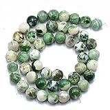 Naturaleza 8mm Oscura Piedra Preciosa Del arbol De agata Verde Perlas Ronda Sueltos...