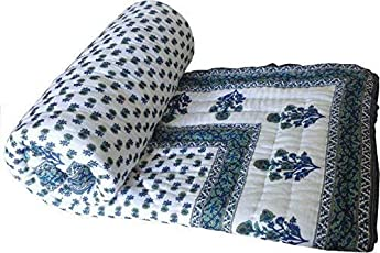 Royal Handicrafts Double Bed Size White Jaipuri Cotton AC Quilt Razai Floral Prints for Winters