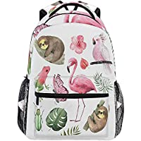 Flamingo Parrot Butterfly Frog Backpacks for Girls Women,Trendy Floral Casual Computer Laptop Backpack,Kid