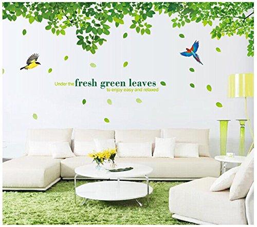 ufengke® Grüne Blätter und Fliegende Vögel Wandsticker, Wohnzimmer Schlafzimmer Entfernbare Wandtattoos Wandbilder