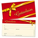 50chèques-cadeaux DIN long, Carnet de bons avec ruban Doré–universel pour de nombreux branchen, format 21x 10,5cm en carton solide de haute qualité...