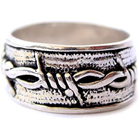 ANELLI moda per le donne 925 Anelli d'argento Handmade di modo fascia unisex IMPEGNO Band ARGENTO TIBETANO