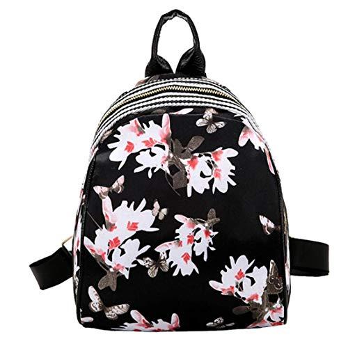 Qiusa 3D Floral Kleine Rucksack Schultasche für Frauen Erwachsene Mädchen, Mode Nylon Sling Leichte Crossbody Stilvolle Design (F) (Farbe : B) -