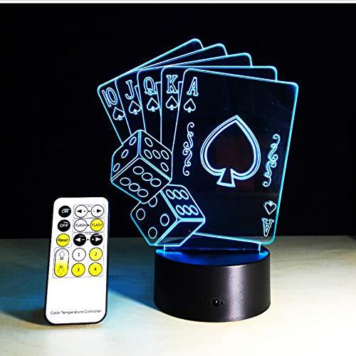 Casino Poker Karten Würfel Licht 3D Illusion Nachtlicht Tisch Schreibtisch Schlafzimmer Nachttischlampe Decoratetion 5 V Usb Farbwechsel Mit Fernbedienung - 4527-tools