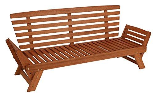 Garten – Liegesofa TIROL 202cm mit klappbaren Seitenlehnen, Eukalyptusholz, mit Wendeauflage rot beige, FSC®-zertifiziert - 4