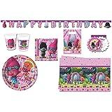 Kit de 50 pièces pour fêter les anniversaires des enfants, motif Trolls de Dreamworks