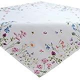 heimtexland Frühling OSTERN Mitteldecke 110x110 cm Blumenwiese Digitaldruck weiß bunt Tischdekoration Tischdecke Typ520