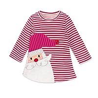 Baby Christmas Dress, KEERADS Girls Long Sleeve Deer Striped Princess Tutu Dress (3-4Years, Pink)