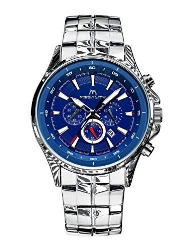 Herren Uhren Männer Wasserdicht Chronograph Designer Edelstahl Silber Armbanduhr Mann Sport Modisch Datum Kalender Analog Uhr