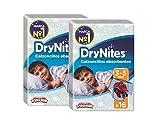 Huggies DryNites Mutandine Assorbenti per la Notte, 3-5 Anni (16-23 kg), 2 Pacchi da 16 Pezzi
