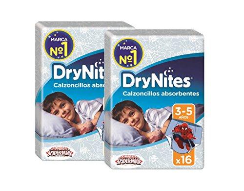 Huggies DryNites, 32 Mutandine assorbenti per la notte bambino 3-5 anni (16-23 kg), 2 confezioni da 16