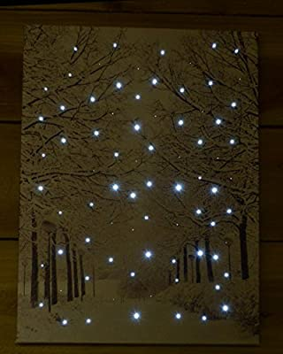 Snowtime Fibre Optic Wall Canvas Tree Lined Avenue Snow Scene #FB00313 produced by Snowtime - quick delivery from UK.