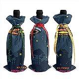 Red Wine Bottle Cover,Disco Volante 3 Pezzi Coperchio Bottiglia di Vino di Natale Regalo Coperchi Bottiglia di Vino per La Decorazione di Capodanno 12x34cm