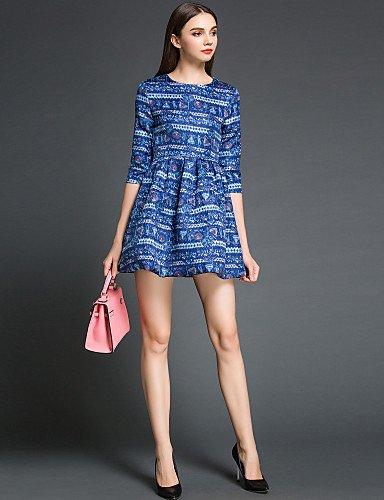 PU&PU Robe Aux femmes Gaine / Patineuse Mignon / Street Chic,Imprimé Col Arrondi Au dessus du genou Polyester BLUE-2XL