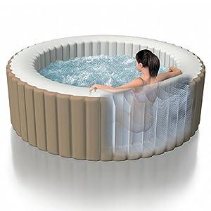 Intex 28408 Pure Spa Bubble Therapy con Pompa, 1098 Litri, Riscaldatore: 2000 Watt, Beige, 216x71 cm