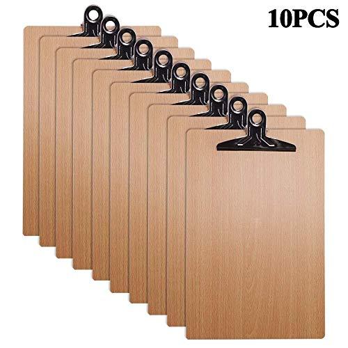 Lagerung 10 Stücke Holz A4 Zwischenablage Hartfaserplatte Chrom Clip Kleine Menü Bord Starre Papier Dokumentenhalter for Büro Warehouse Zuhause Schule Veranstalter