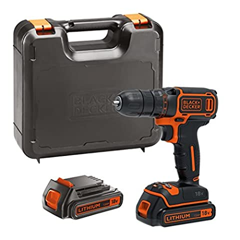 BLACK+DECKER 18 V Lithium-Ion Drill Driver with Kit Box and 2 Batteries