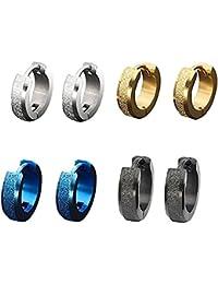 SHINEstyle Boucles d'oreilles en acier inoxydable 20G en acier inoxydable Boucles d'oreilles en perles Huggie Unisex Hommes Femmes (4 Paires: 4 Couleurs)