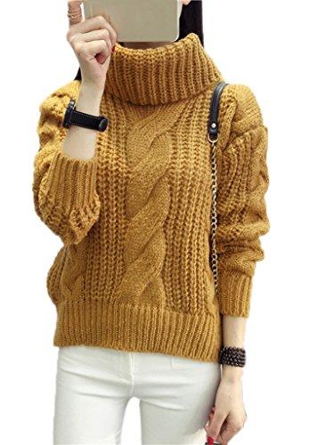 Smile YKK Pull Femme Hiver Sweat-shirt Col Roulé Sweat Manche Longue Automne Casual Tricoté Kaki