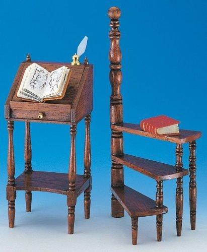 MiniMundus Stehpult und halbrunde Trittleiter für das Puppenhaus, Bausatz