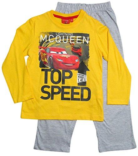 Cars Disney 2 Kollektion 2016 Schlafanzug 92 98 104 110 116 122 128 Jungen Pyjama Lang Lightning McQueen Gelb-Grau (98-104, Gelb-Grau)