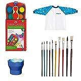 Farbkasten mit 12 Farben Deckfarbkasten Wasserbecher Pinsel Kinder-Malschürze Schulstartpaket