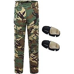 Pantalones Militares, QMFIVE Pantalones de Combate Camo Combat BDU Pantalones de Combate con Rodillera para Ejército táctico Airsoft Paintball