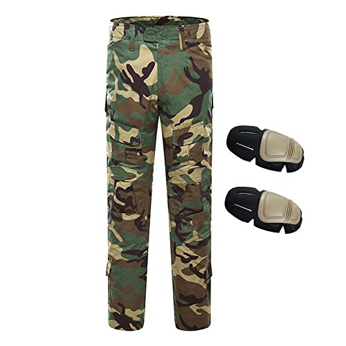 QMFIVE Pantaloni Airsoft, Men\'s Shooting Camo Combat BDU Pantaloni da Combattimento Pantaloni con Ginocchiera per Tactical Military Army Airsoft Paintball